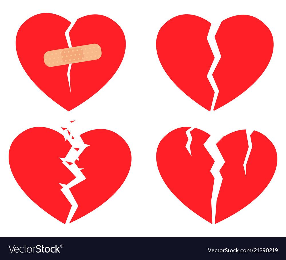 Set of icons broken heart