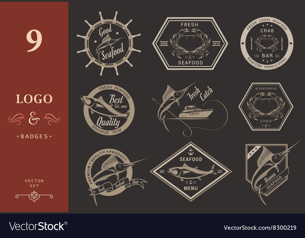 Set of Seafood Labels and Badges