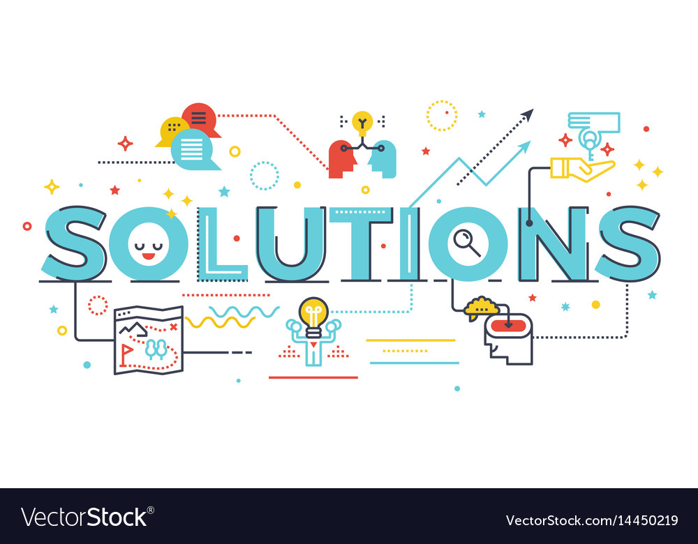 Solutions word lettering vector image