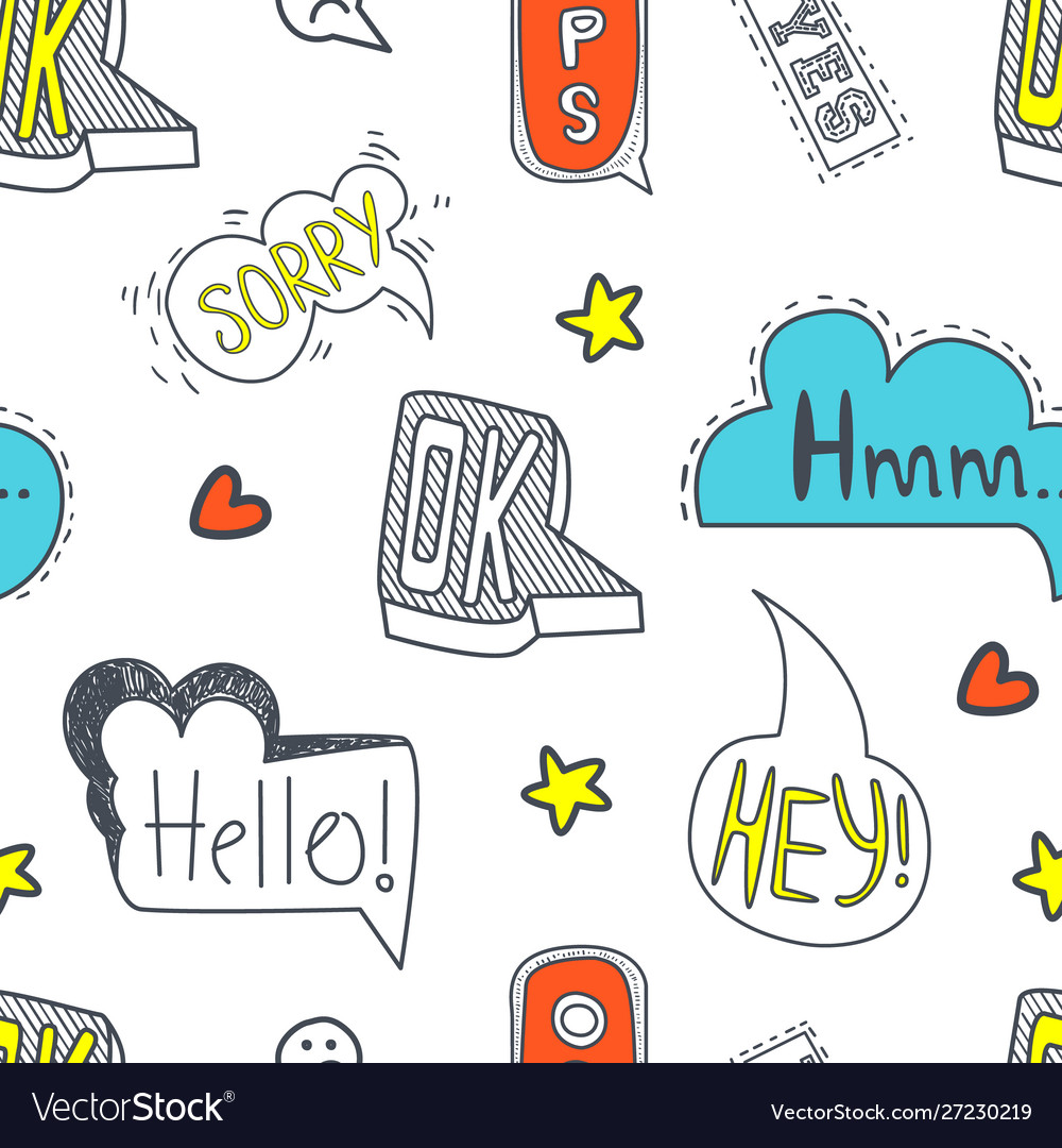 Speech bubbles seamless pattern with different