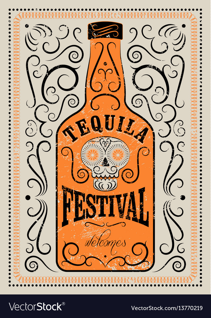Typographic retro grunge tequila festival poster