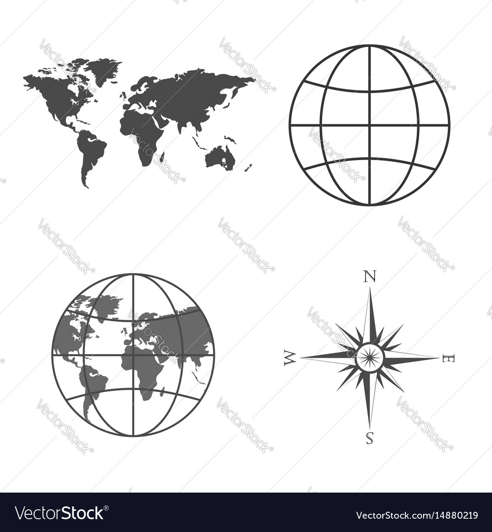 World map globe wind rose vector image