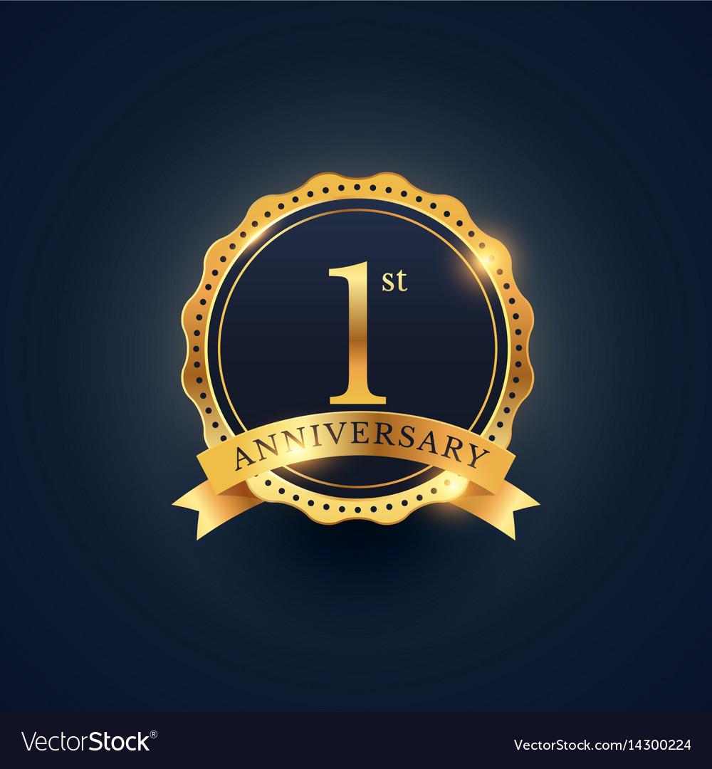 1st anniversary celebration badge label in golden