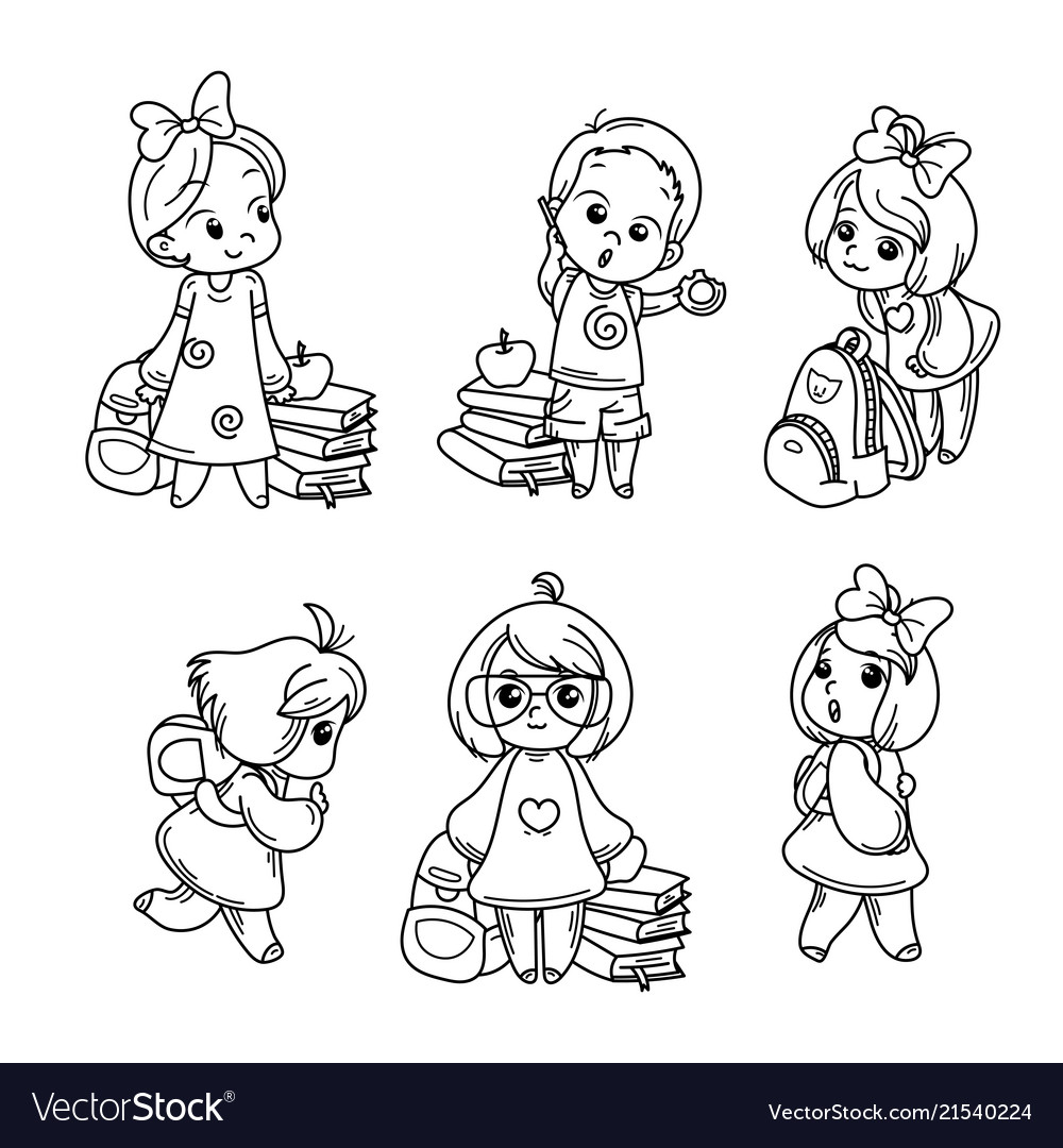 Collection of school cartoon children