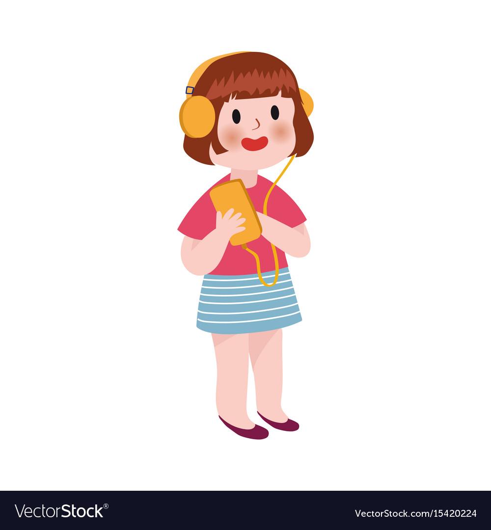 Cute cartoon little girl listening music in vector image