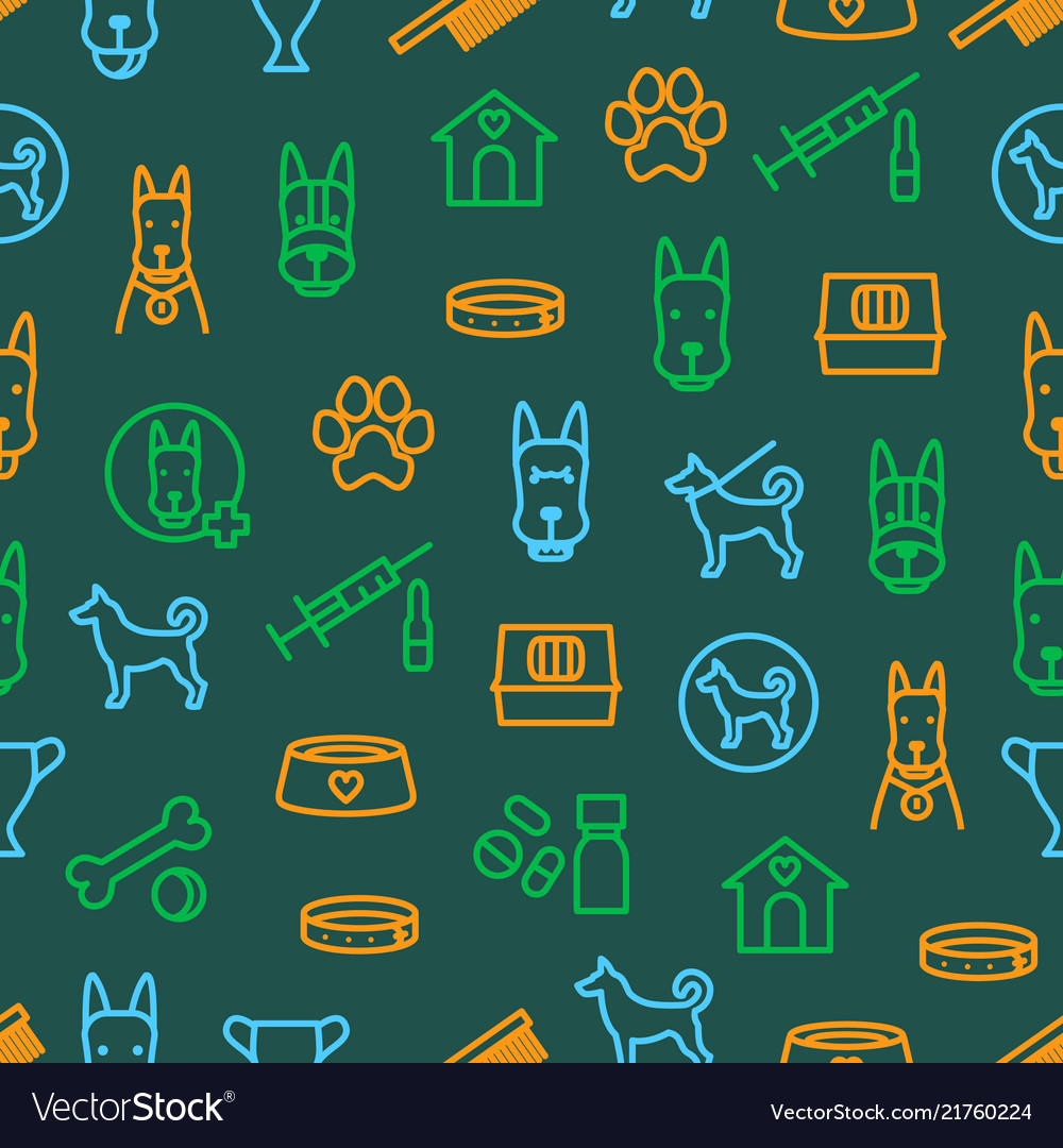 Dogs and puppy thin line seamless pattern