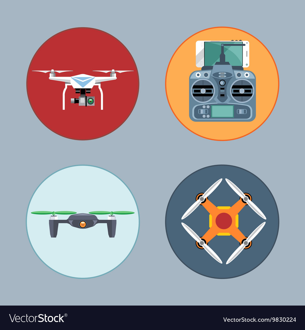 Drone set flat style Remote controled copter mobil vector image