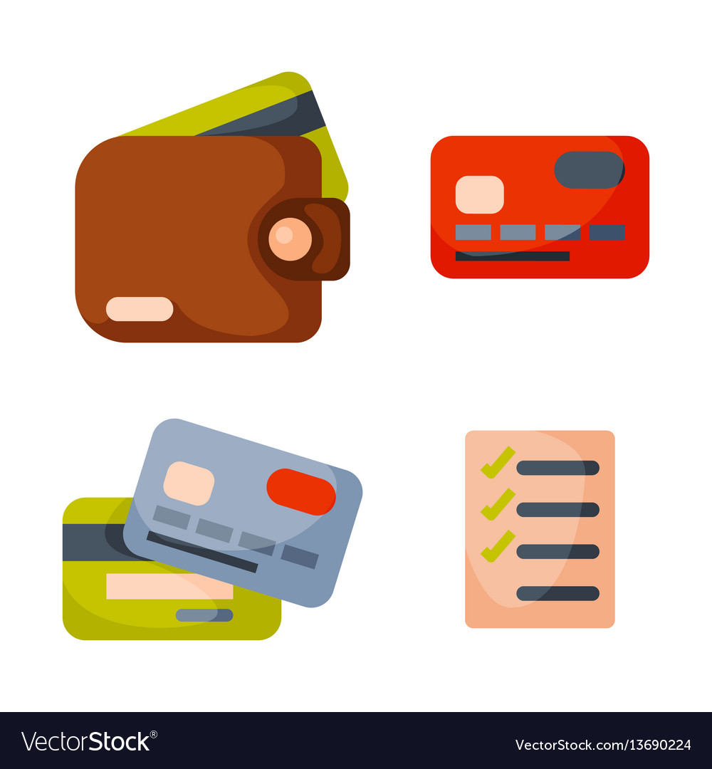 Flat money wallet icon check list making purchase