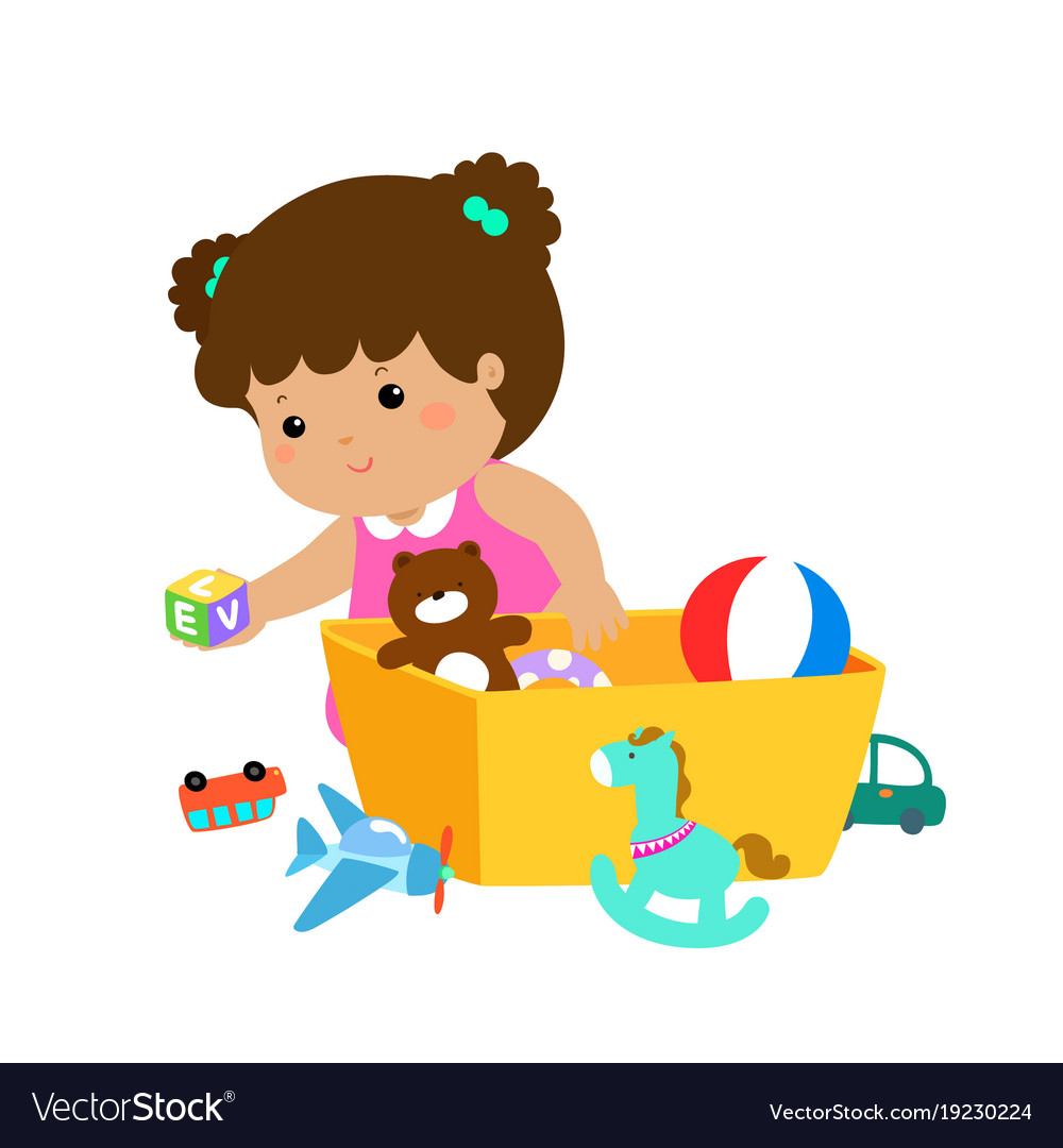 Kid Girl Storing Toys Royalty Free Vector Image