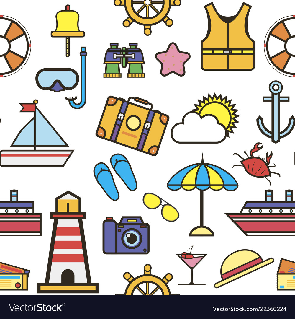 Summer vacation to seaside holidays icons set