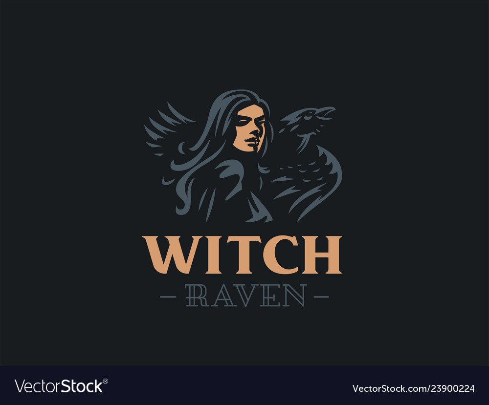 Woman witch with a raven