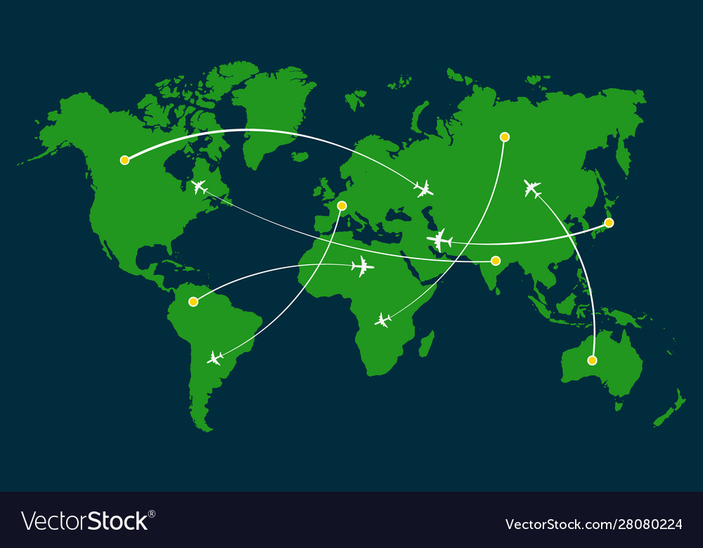 World Map Airline Airplane Flight Path Travel Vector Image