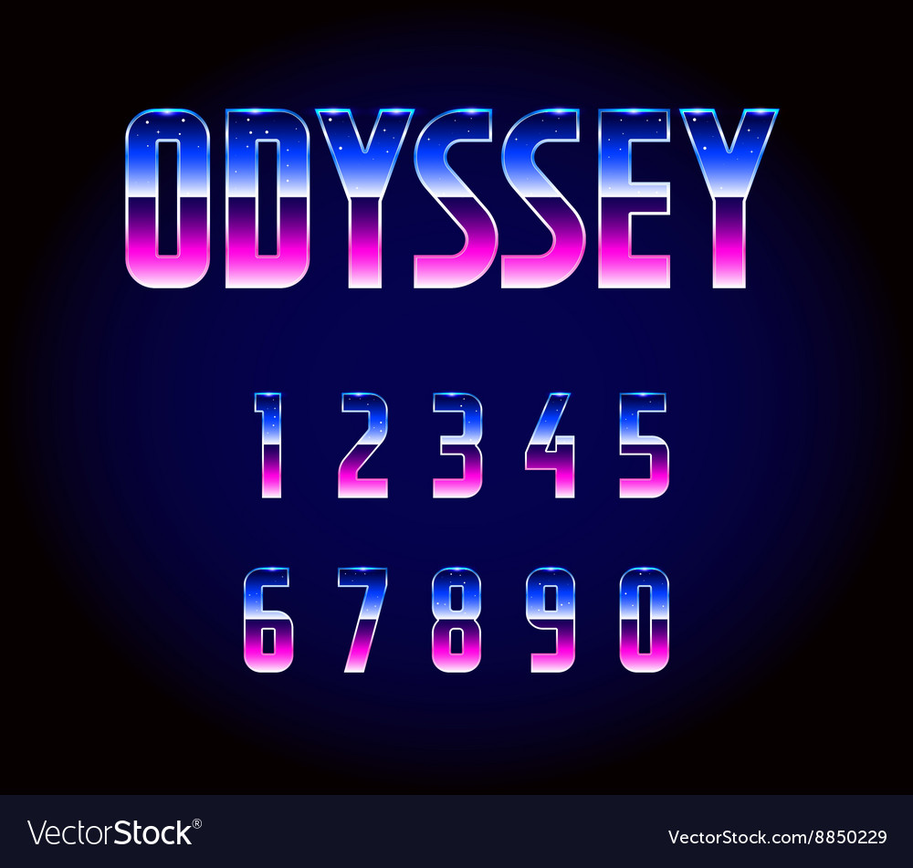 80s Retro Futurism Sci-Fi Font Numbers