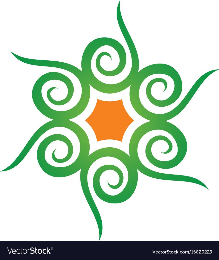 Abstract swirl leaf eco logo vector image