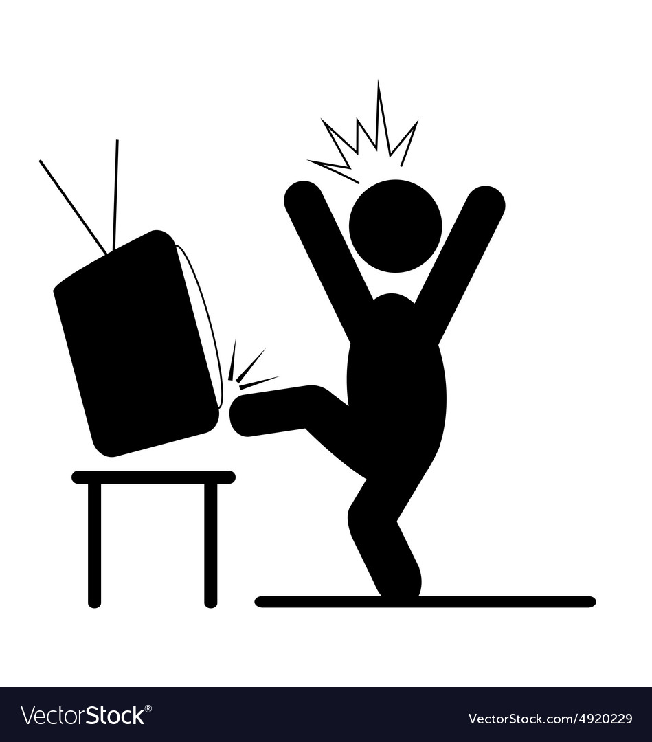 Angry man kicking tv pictograph flat icon isolated