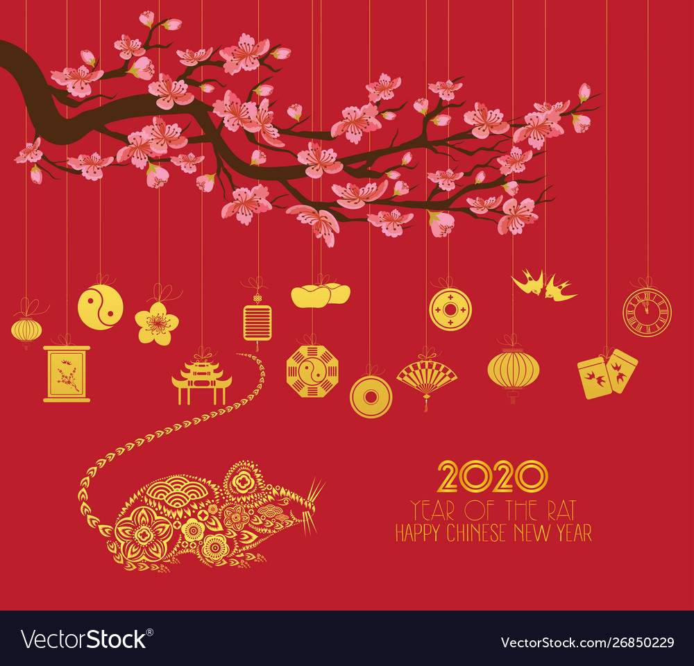 Asian New Year 2020.Chinese New Year 2020 With Lantern Year Rat