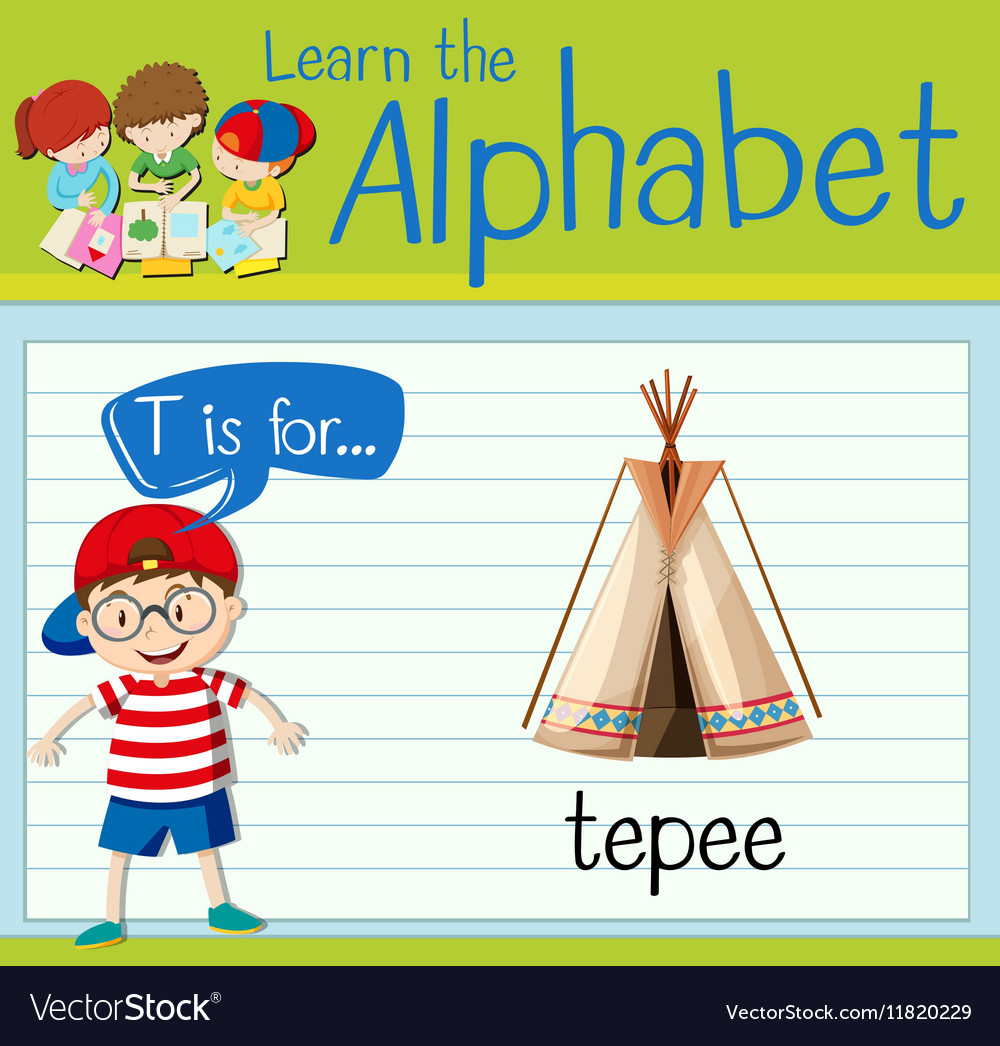 Flashcard letter T is for teepee vector image
