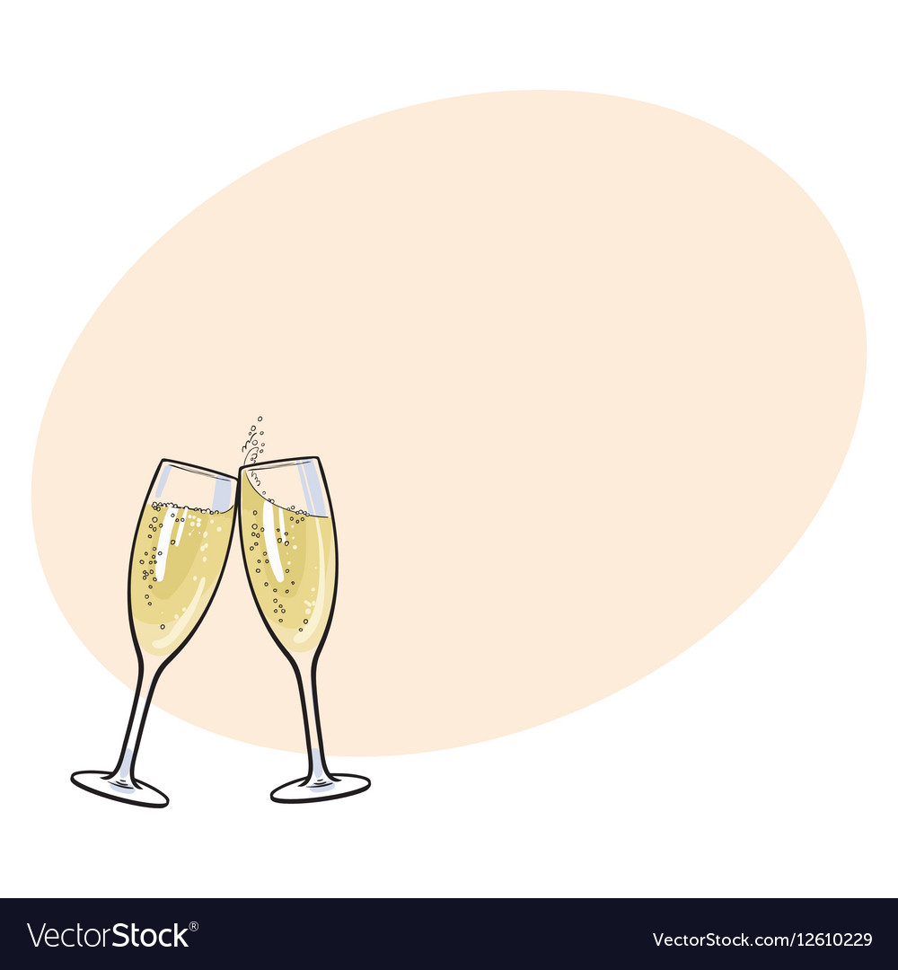 pair of champagne glasses holiday toast royalty free vector