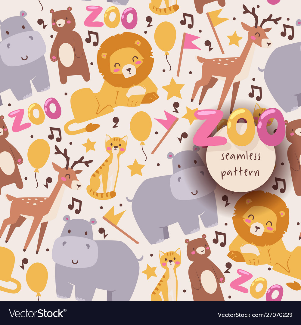Seamless pattern with zoo animals