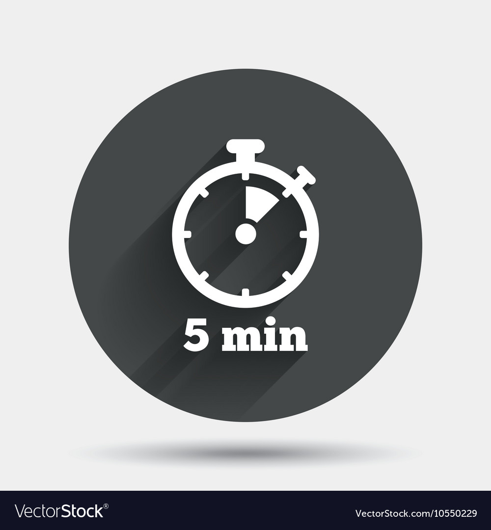 Timer Sign Icon 5 Minutes Stopwatch Symbol Vector Image Set stopwatch for 5 minutes