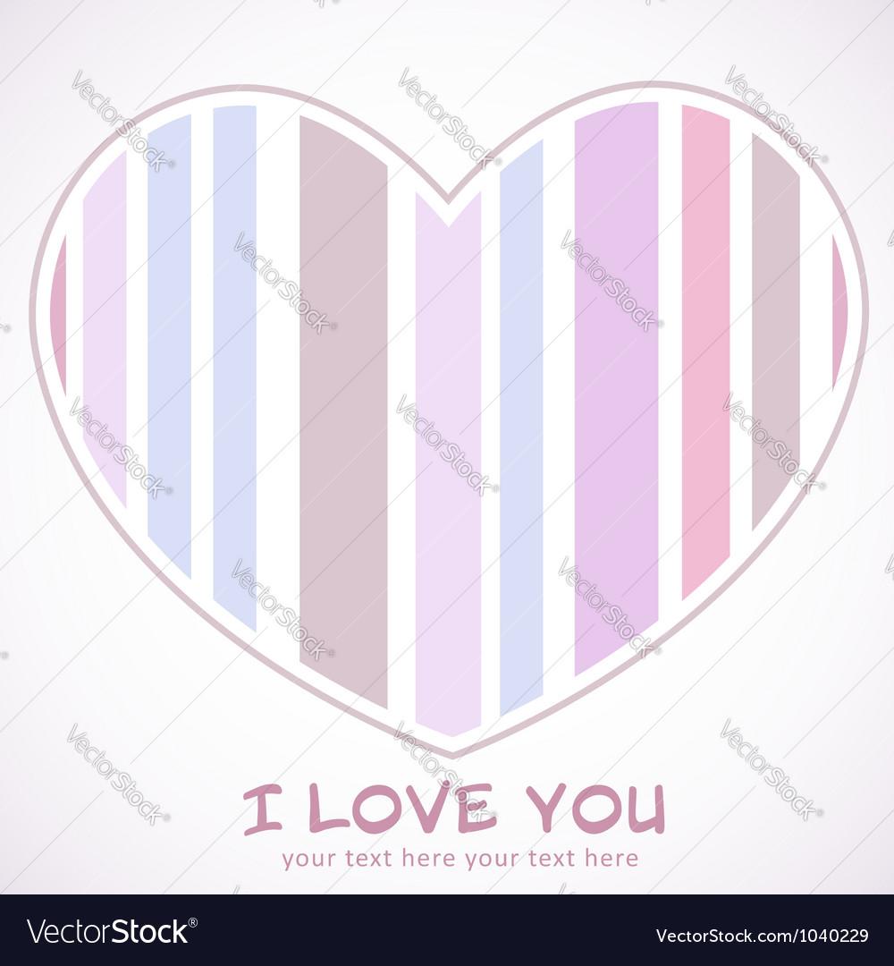 Valentines Day heart retro invitation postcard vector image