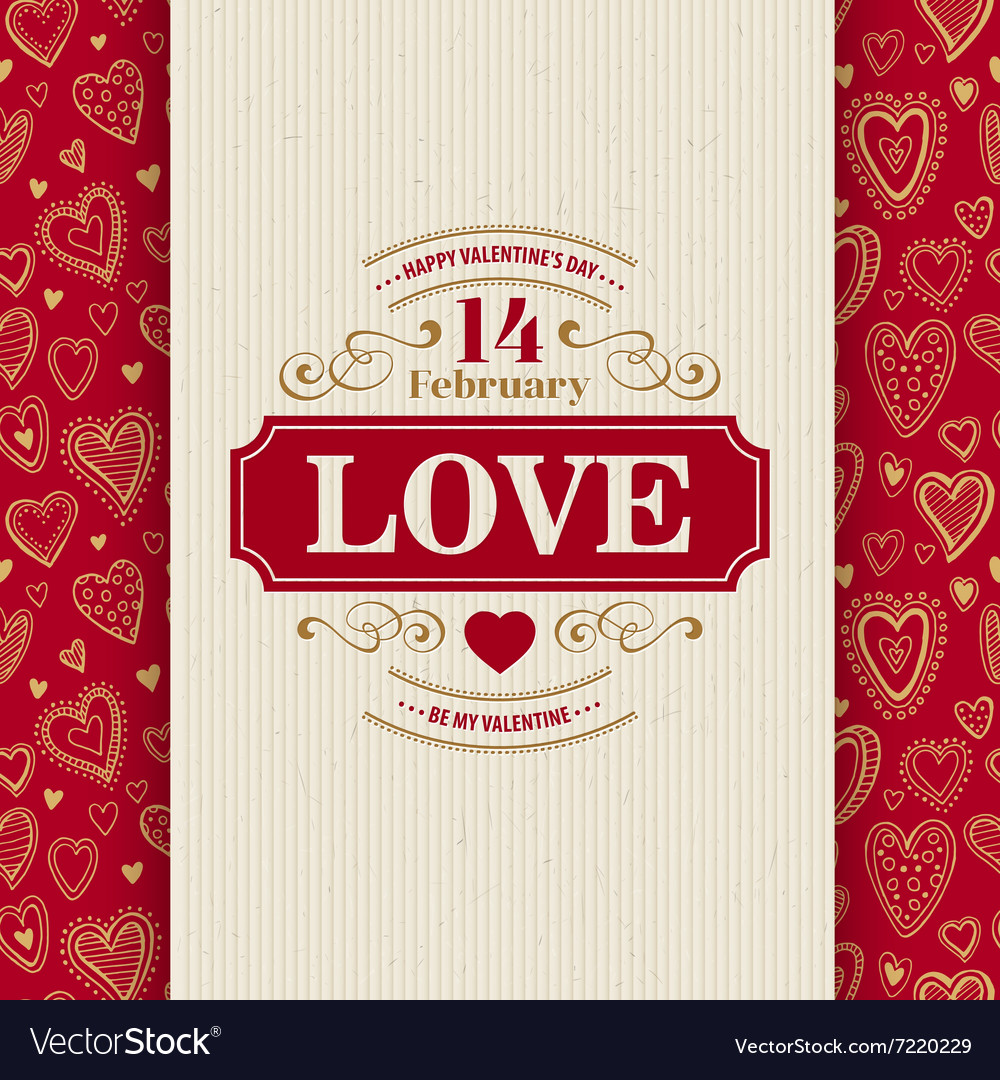 Valentines Day Typography Greeting Card over