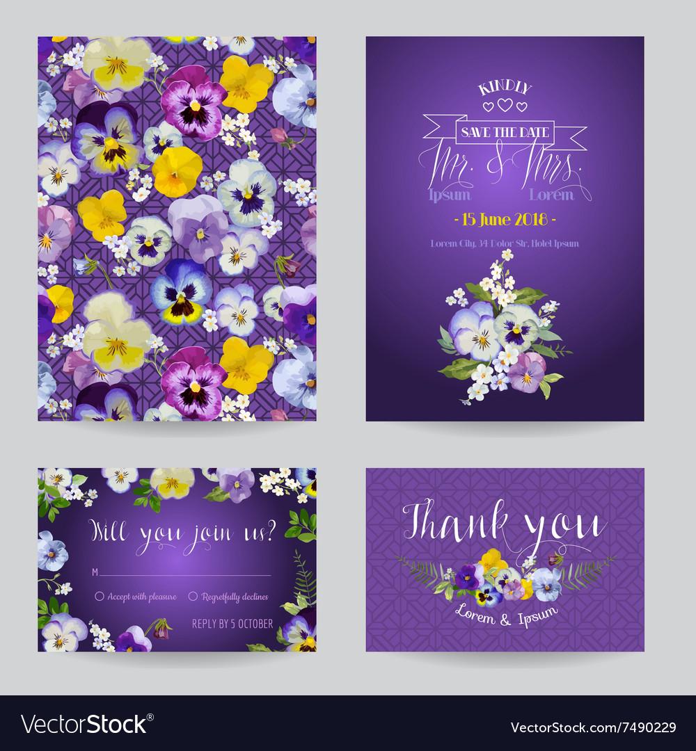 Wedding invitation or congratulation card set