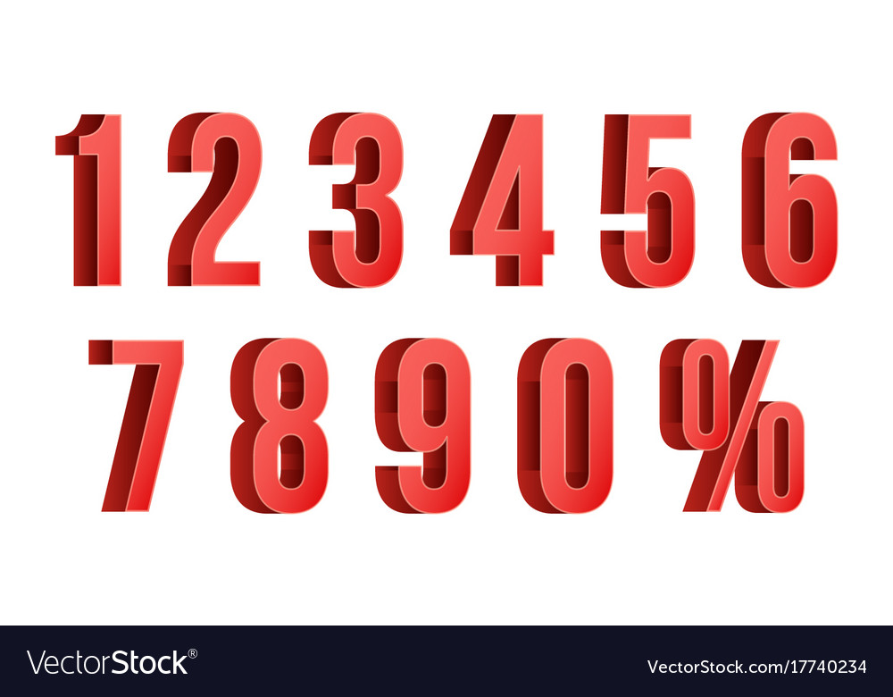3d red discount numbers percent numbers