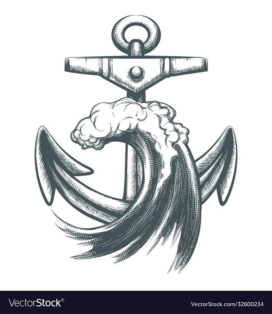 Anchor with ocean wave tattoo