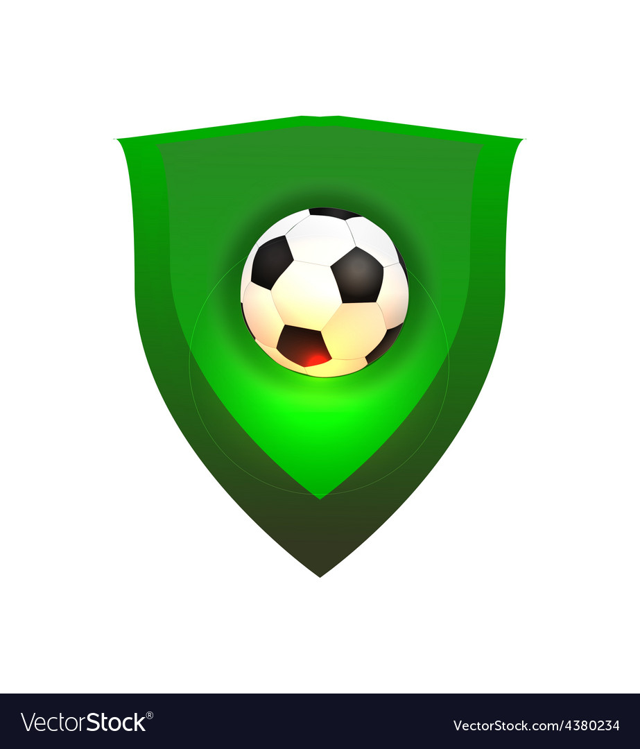 Ball on green shield vector image