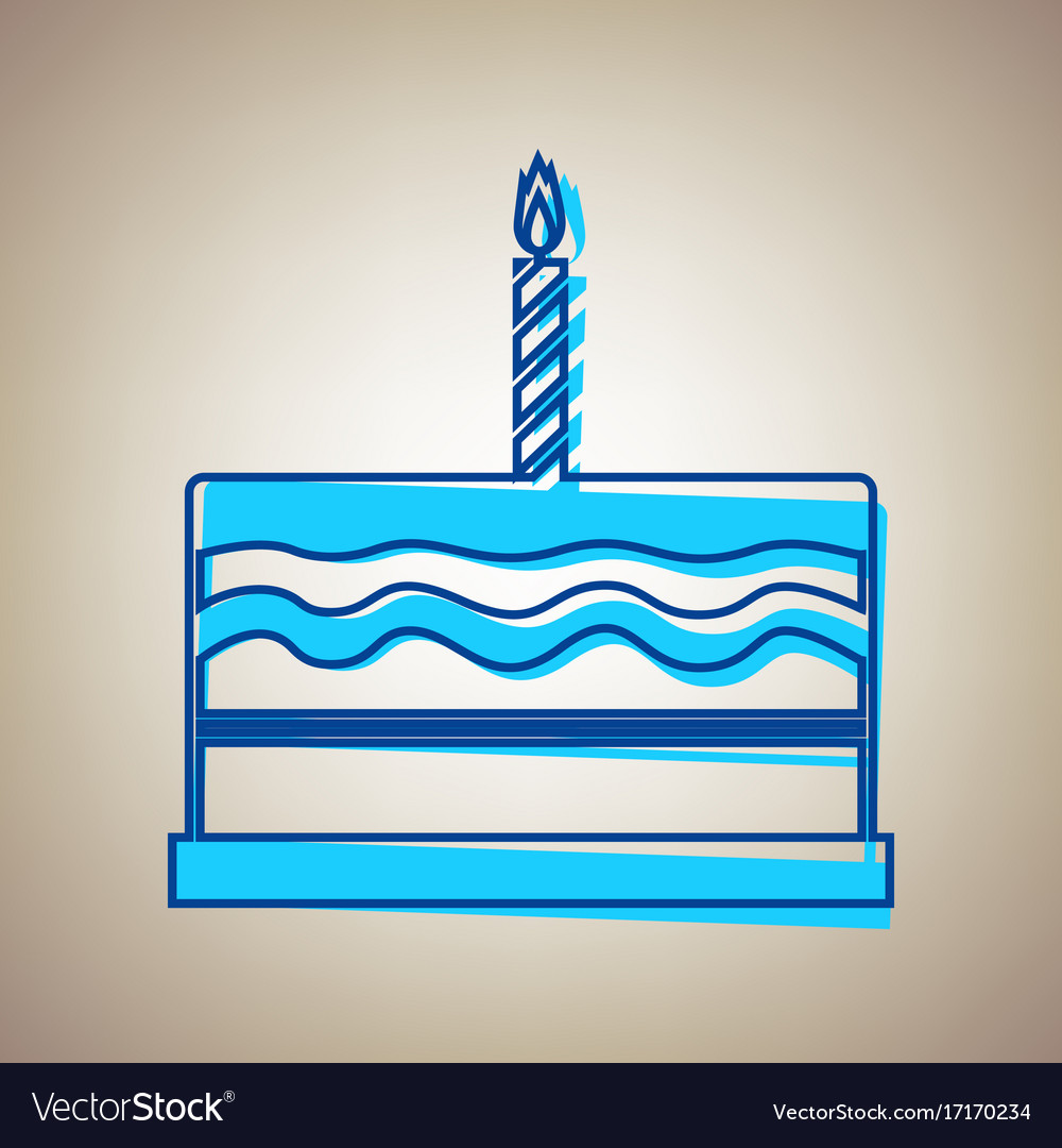 Birthday Cake Sign Sky Blue Icon With Royalty Free Vector