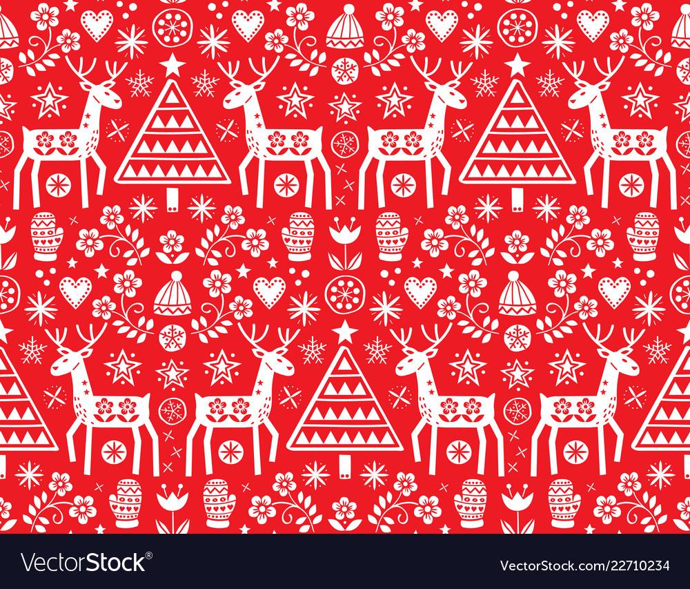 Christmas folk art seamless pattern