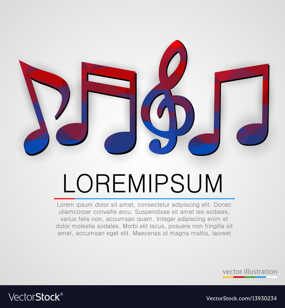 Colorful music notes symbols background
