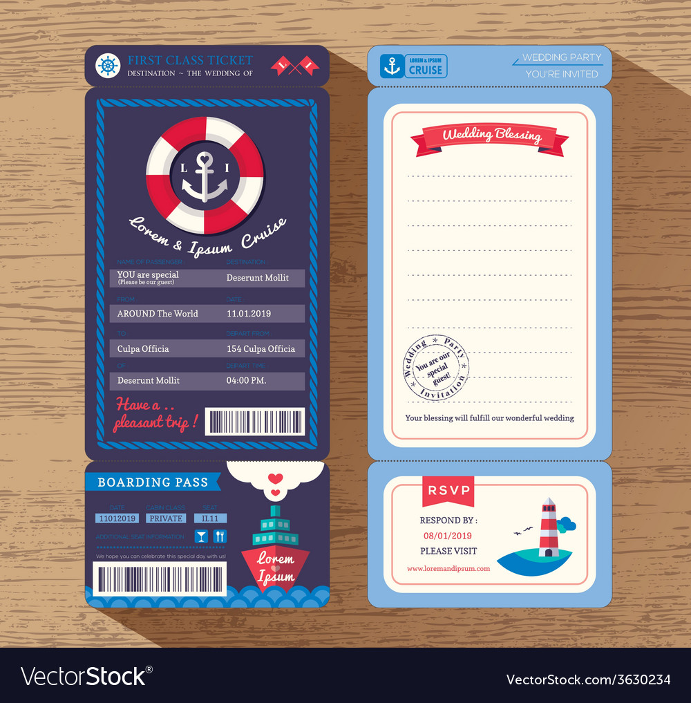 Cruise Ship Boarding Pass Ticket Wedding invite Vector Image