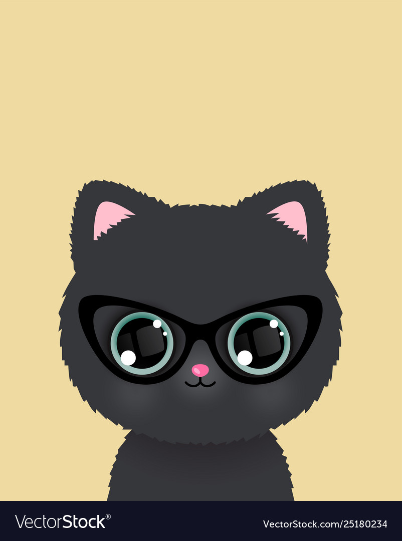 Cute little cat in glasses poster