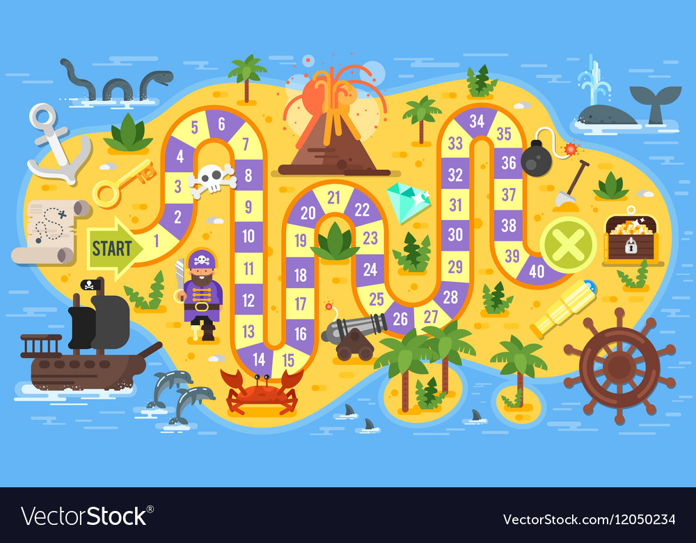 Flat style of kids pirate board game