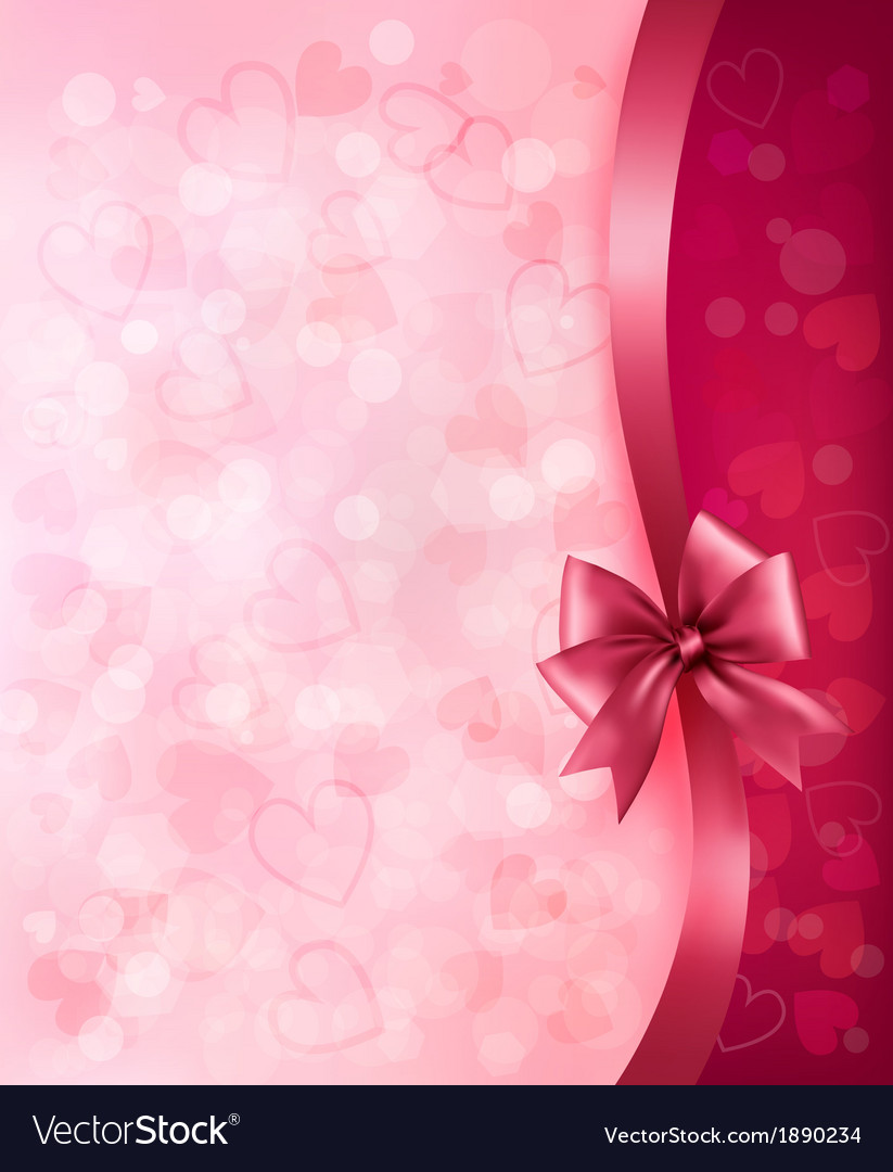 Holiday background with gift pink bow and ribbon