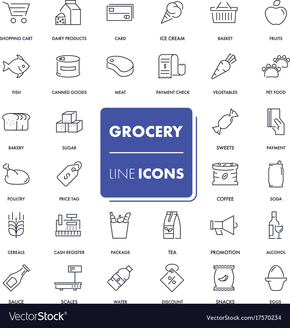 Line icons set grocery