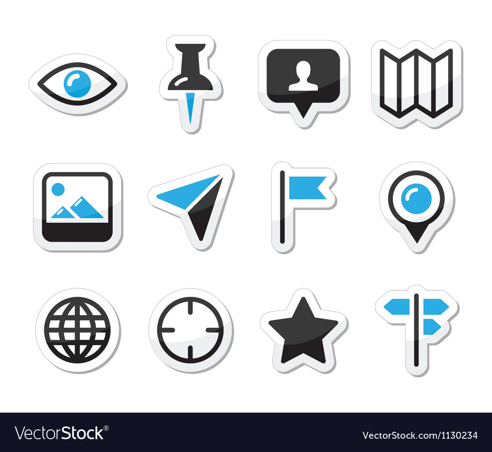 Location map traveling icon set vector image