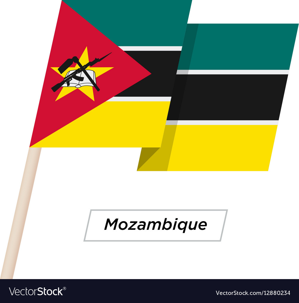 Mozambique Ribbon Waving Flag Isolated on White vector image