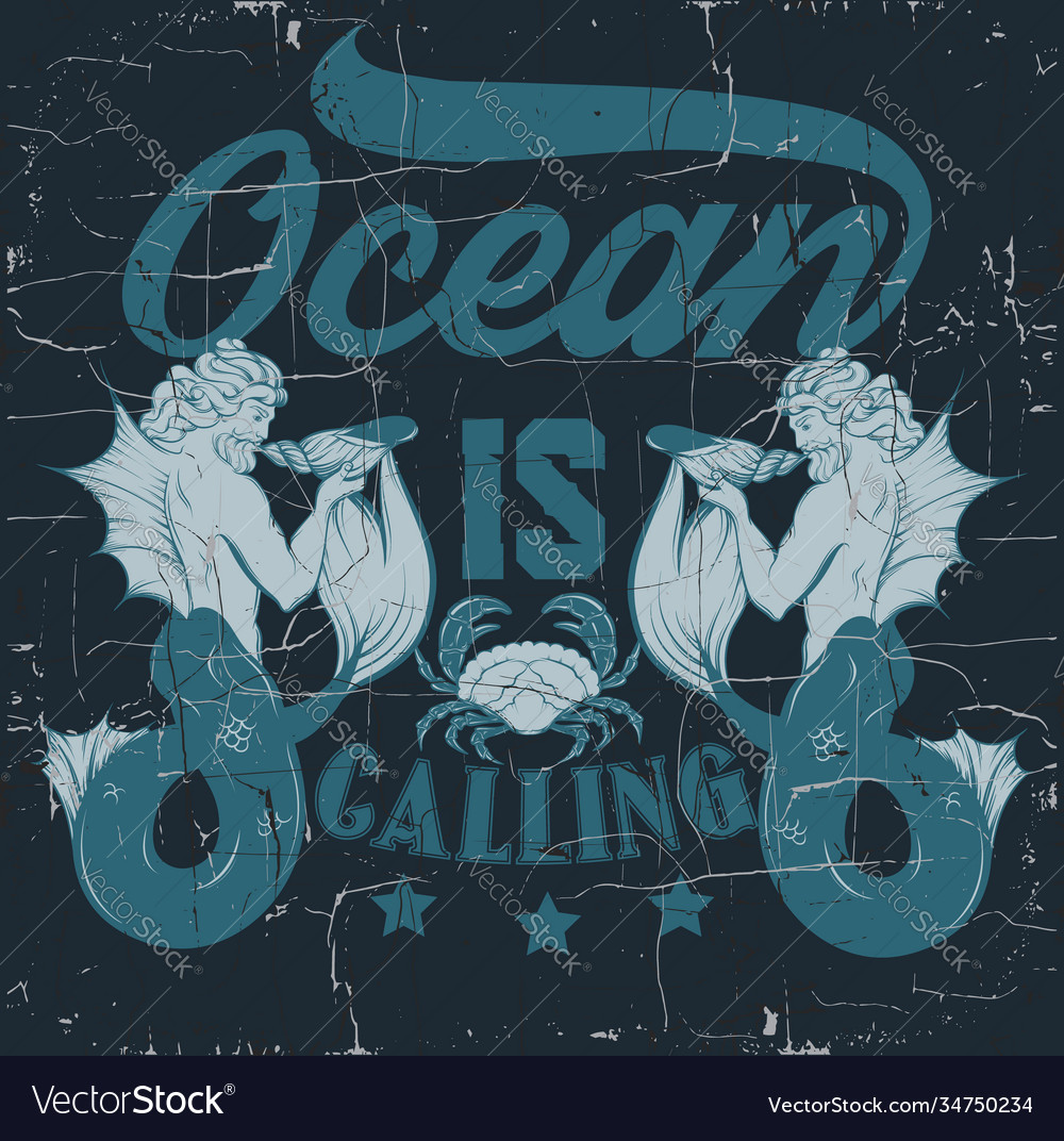 Ocean is calling quote typographical background