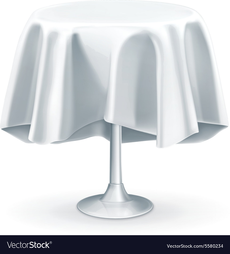Round Table With Tablecloth.Round Table With White Tablecloth