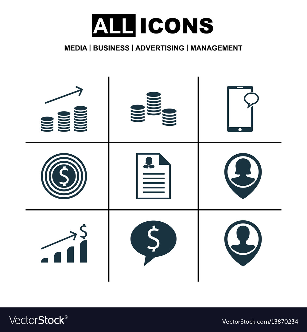 Set of 9 hr icons includes business goal vector image