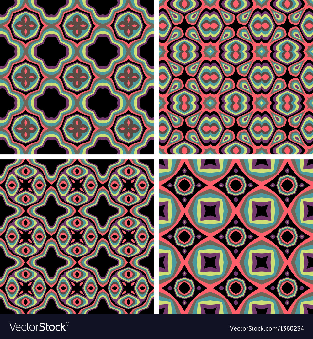 Set of Seamless Colorful Retro Pattern Backgrounds