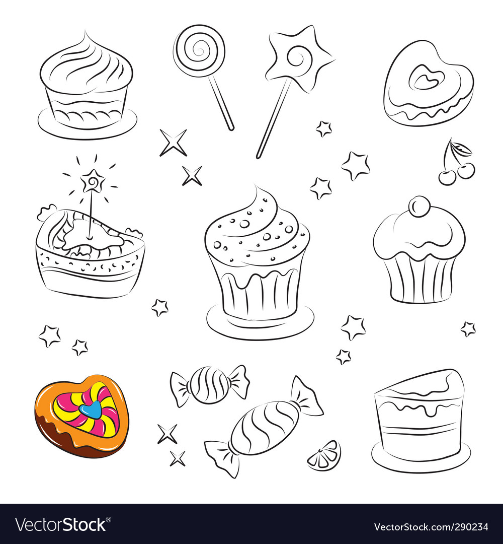 Sweets and cakes icons