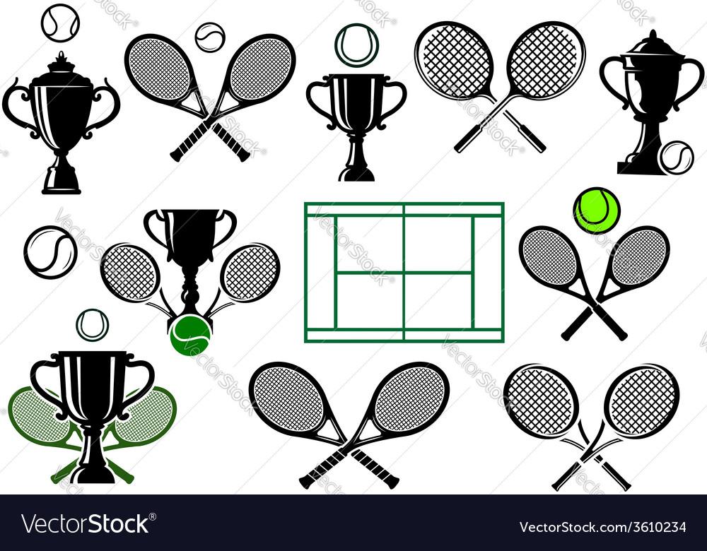 Tennis tournament icons vector image