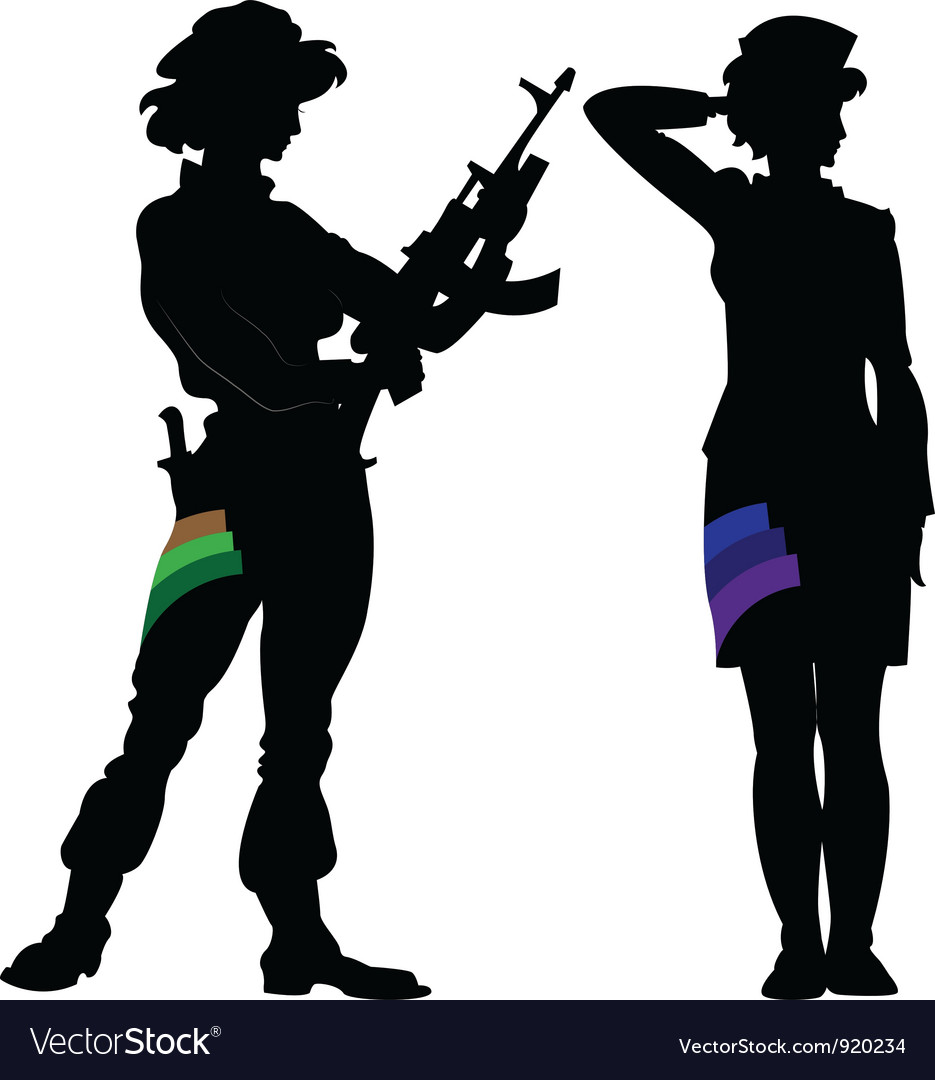 Woman Silhouette military vector image