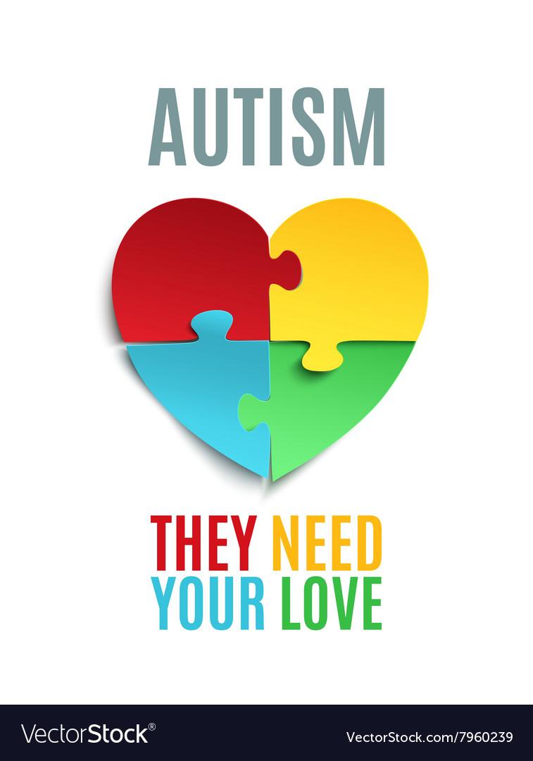 autism awareness poster or brochure template vector