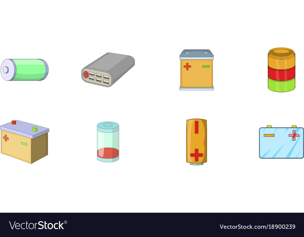 Battery icon set cartoon style