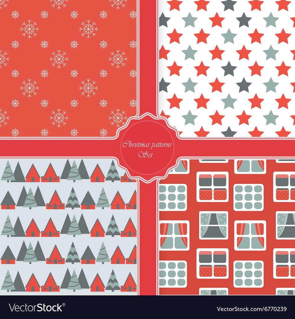 Christmas modern pattern set New Year holiday